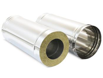Сэндвич-труба для дымохода имеет внутренний и внешний контуры из нержавеющей стали